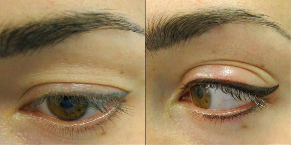 Перманентный макияж век фото до и после