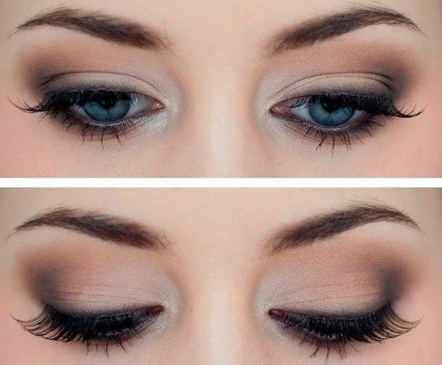Легкий вечерний макияж для голубых глаз